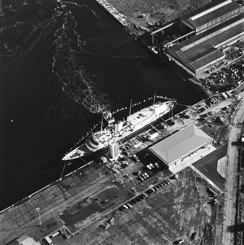 Oblique aerial view centred on HMRY Britannia and the temporary visitor centre, taken from the WSW.