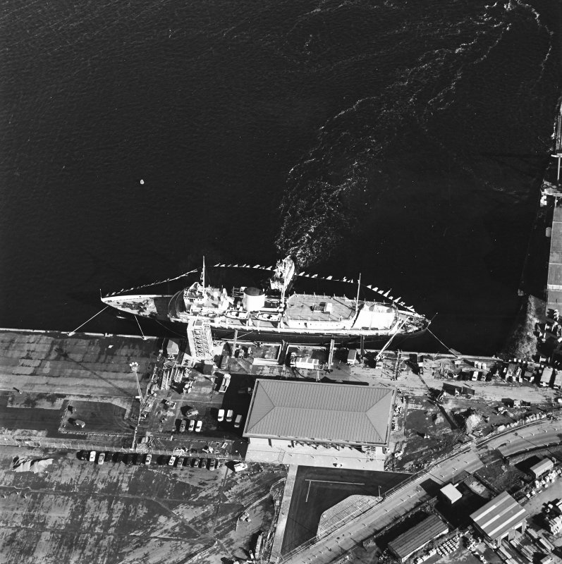 Oblique aerial view centred on HMRY Britannia and the temporary visitor centre, taken from the SW.