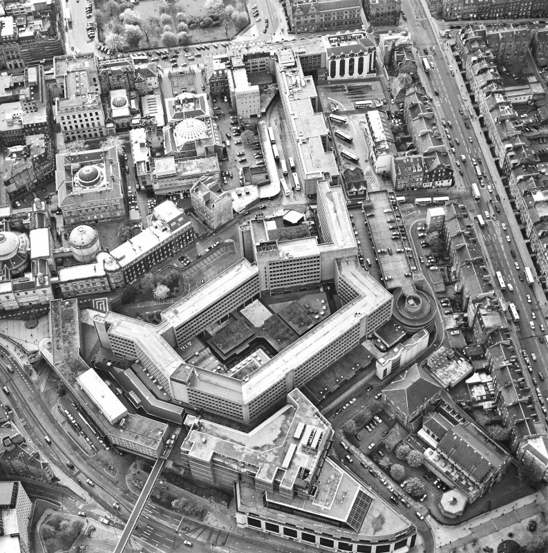 Oblique aerial view of Edinburgh centred on the St James Centre, taken from the ENE.