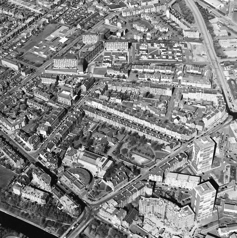 Oblique aerial view of North Leith, taken from the E.