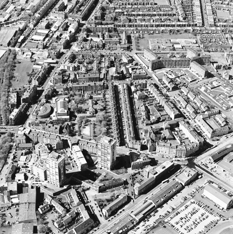 Oblique aerial view of North Leith, taken from the ENE.