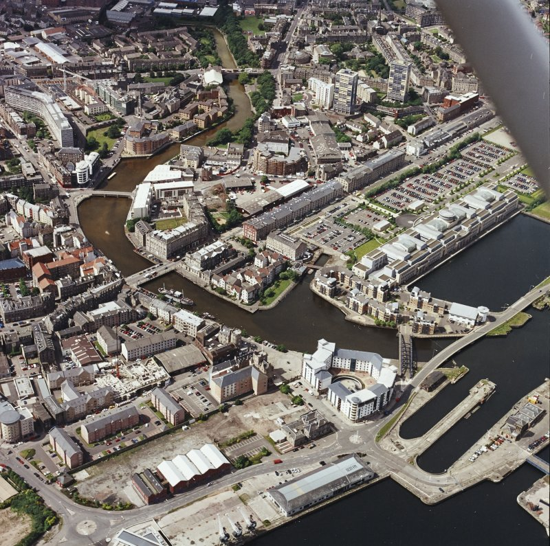 Oblique aerial view of Leith centred on the Shore area, taken from the ENE.