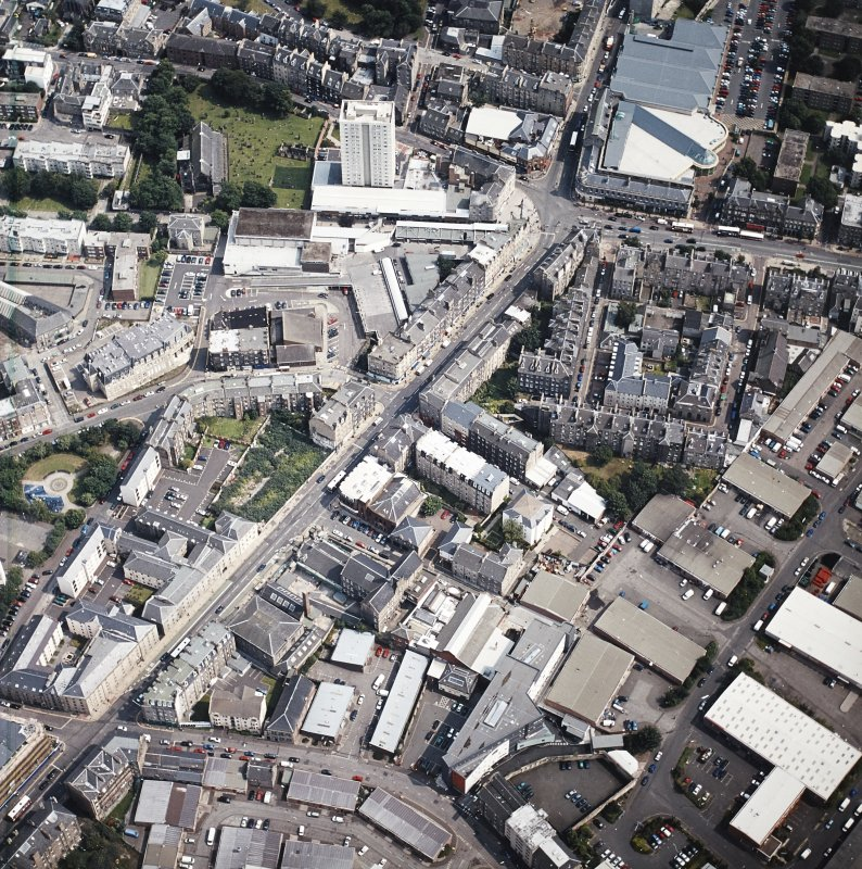 Oblique aerial view of Leith centred on Great Junction Street, taken from the W.
