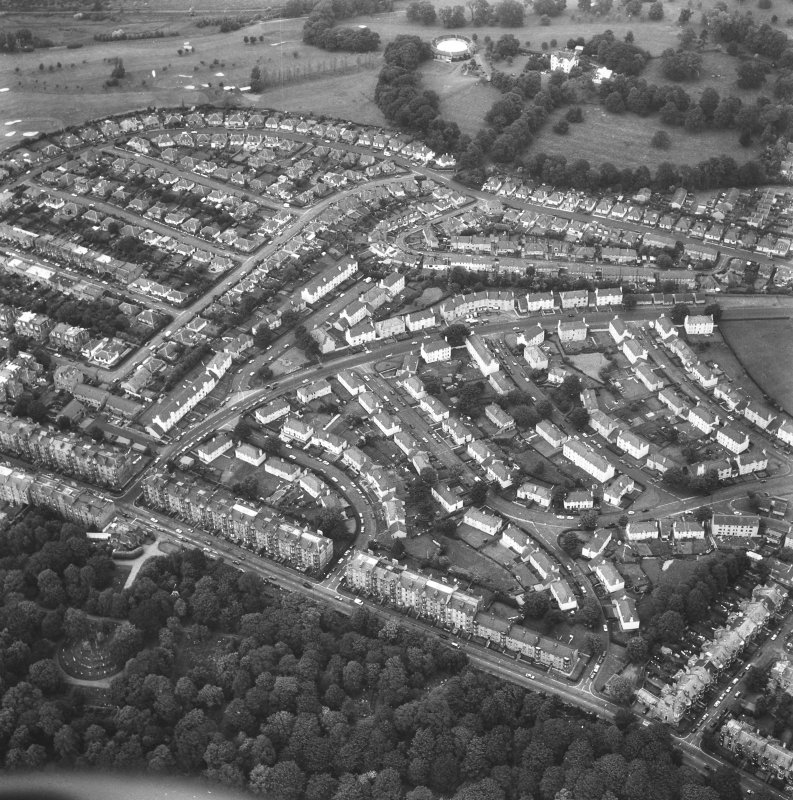 General aerial view of Prestonfield, including Prestonfield House and stables