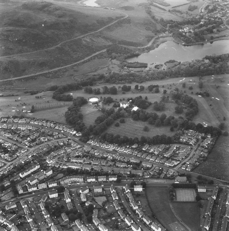 General aerial view of Prestonfield including Prestonfield House and stables, and golf course