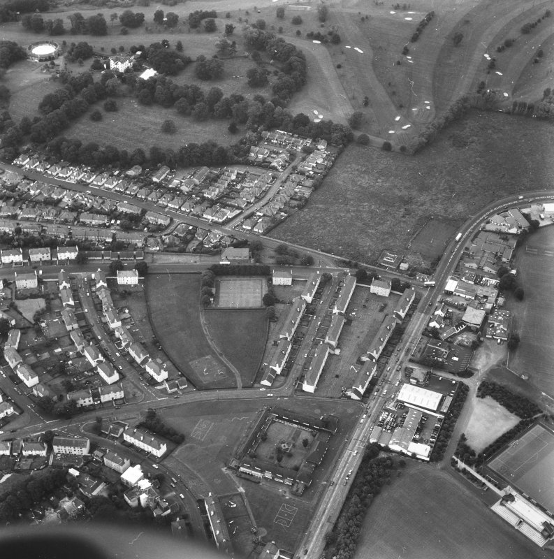 Aerial view of part of Prestonfield including Prestonfield House, Stables and golf course
