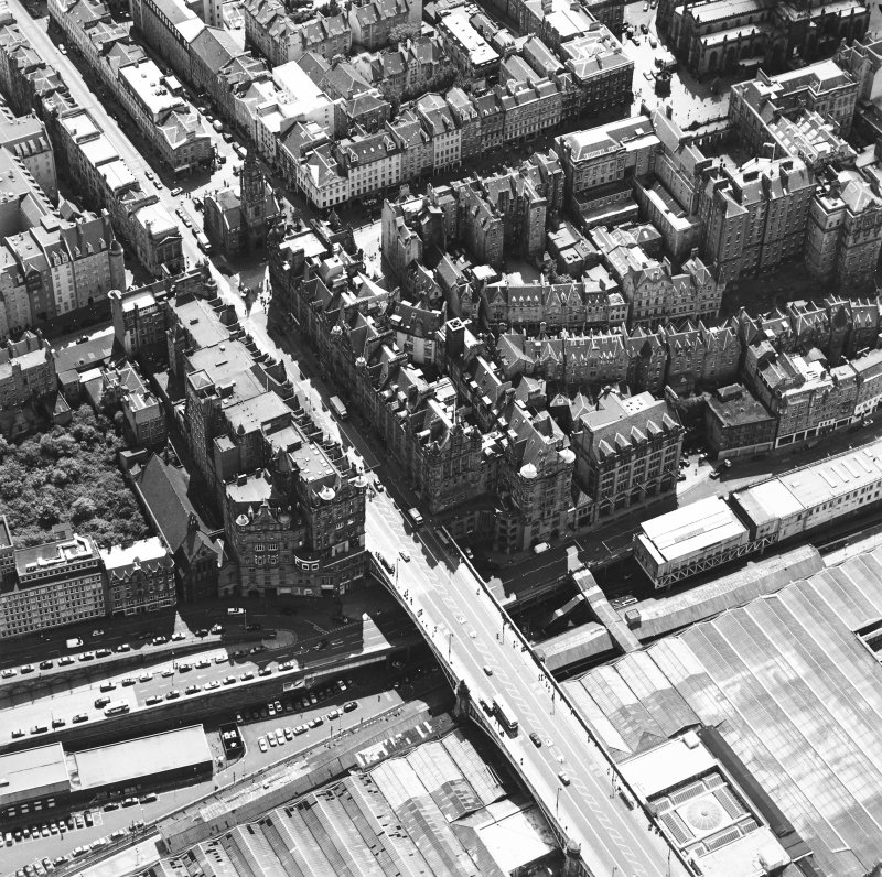 Oblique aerial view centred on the Scotsman buildings, taken from the NE.