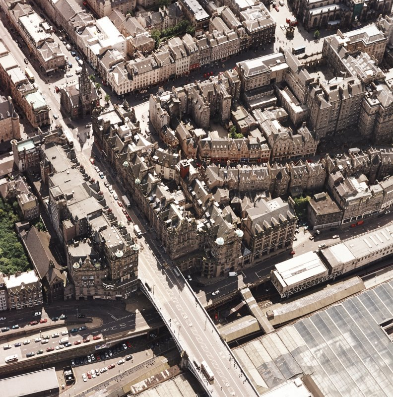 Oblique aerial view centred on the Scotsman buildings, taken from the NNE.