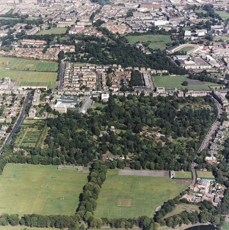 Edinburgh, oblique aerial view, taken from the WSW, centred on the Royal Botanic Gardens with Powderhall Stadium visible in the top right-hand corner of the photograph.