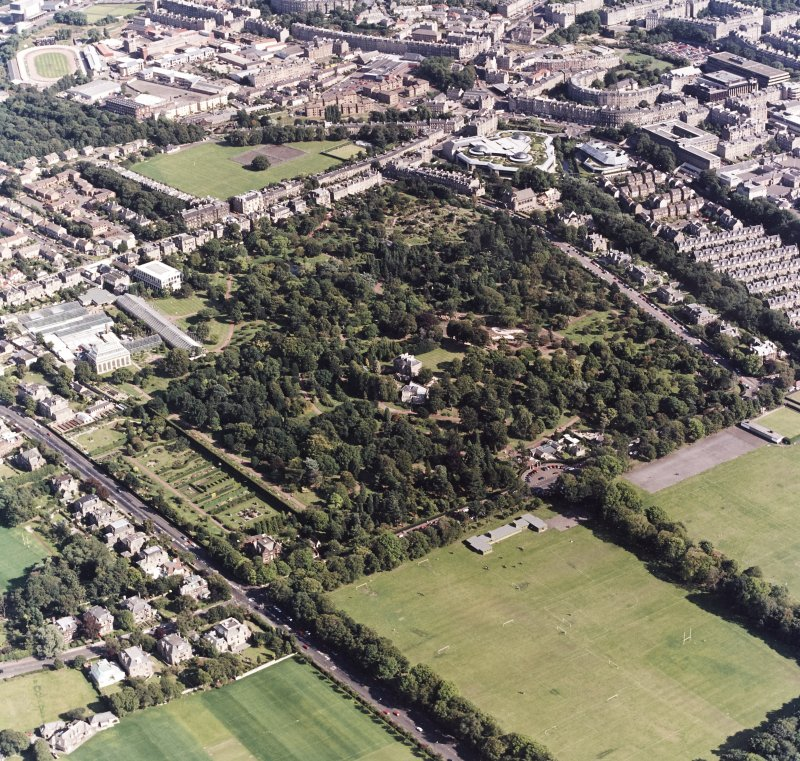 Edinburgh, oblique aerial view, taken from the W, centred on the Royal Botanic Gardens and Inverleith House. Powderhall Stadium and the Tanfield headquarters of Standard Life Assurance are visible in the top half of the photograph.