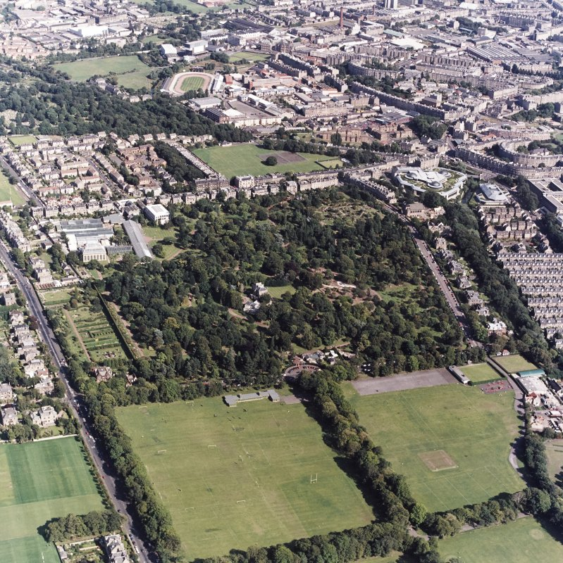 Edinburgh, oblique aerial view, taken from the SW, centred on the Royal Botanic Gardens and Inverleith House. Powderhall Stadium and the Tanfield headquarters of Standard Life Assurance are visible in the top half of the photograph.