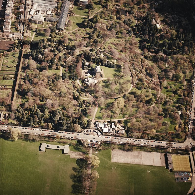 Oblique aerial view of the botanical garden centred on the art gallery, house, tea room and café, taken from the WSW.