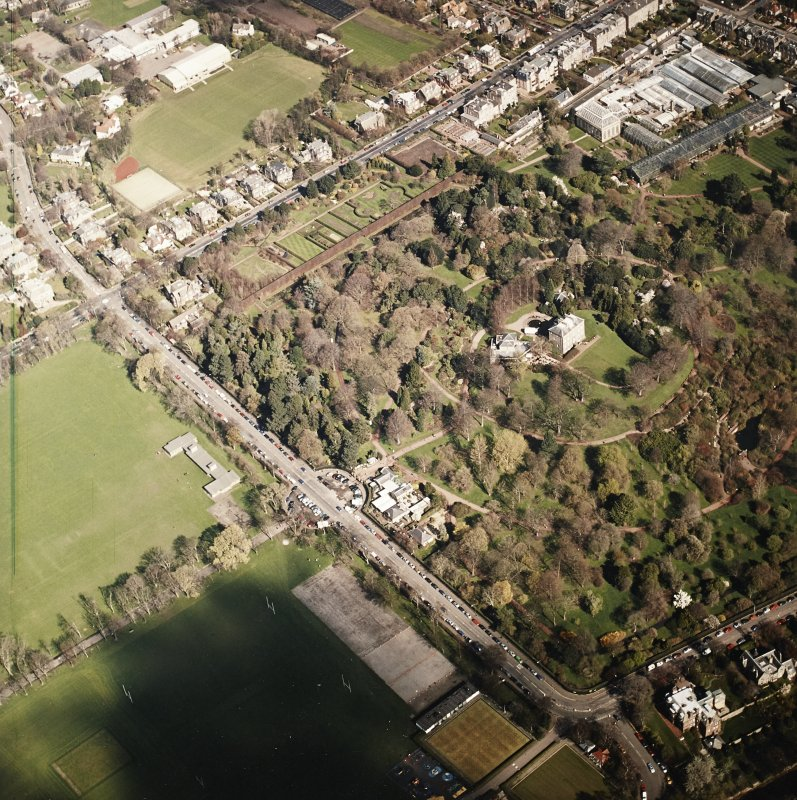 Oblique aerial view of the botanical garden centred on the art gallery, house, tea room and café, taken from the SSW.