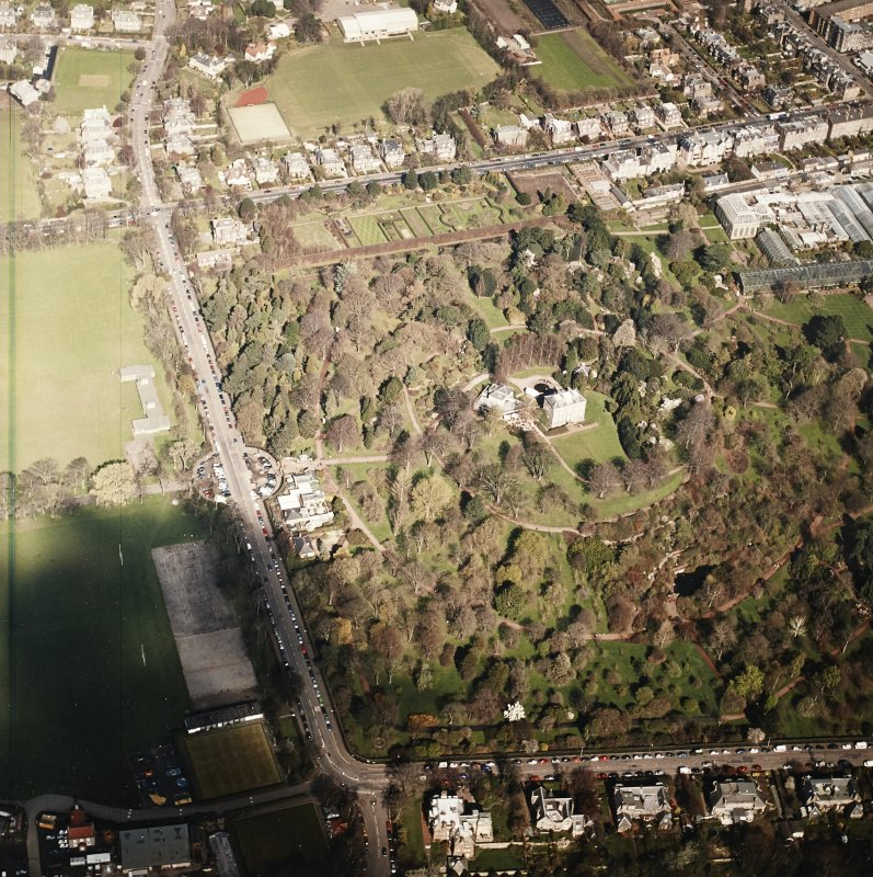 Oblique aerial view of the botanical garden centred on the art gallery, house, tea room and café, taken from the S.