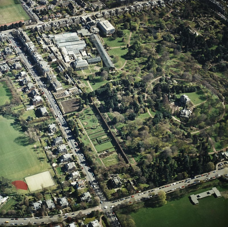 Oblique aerial view of the botanical garden centred on the art gallery, house, tea room and café, taken from the W.