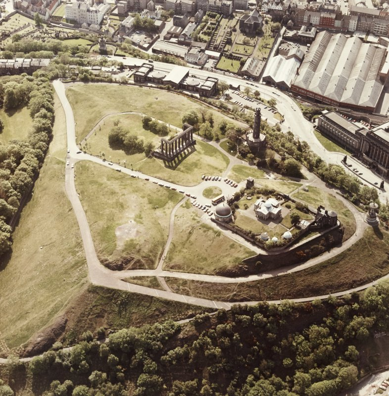 Aerial view of Calton Hill.