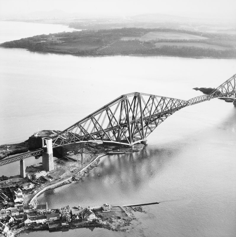 Aerial view of the Fife end of the bridge seen from the North West.