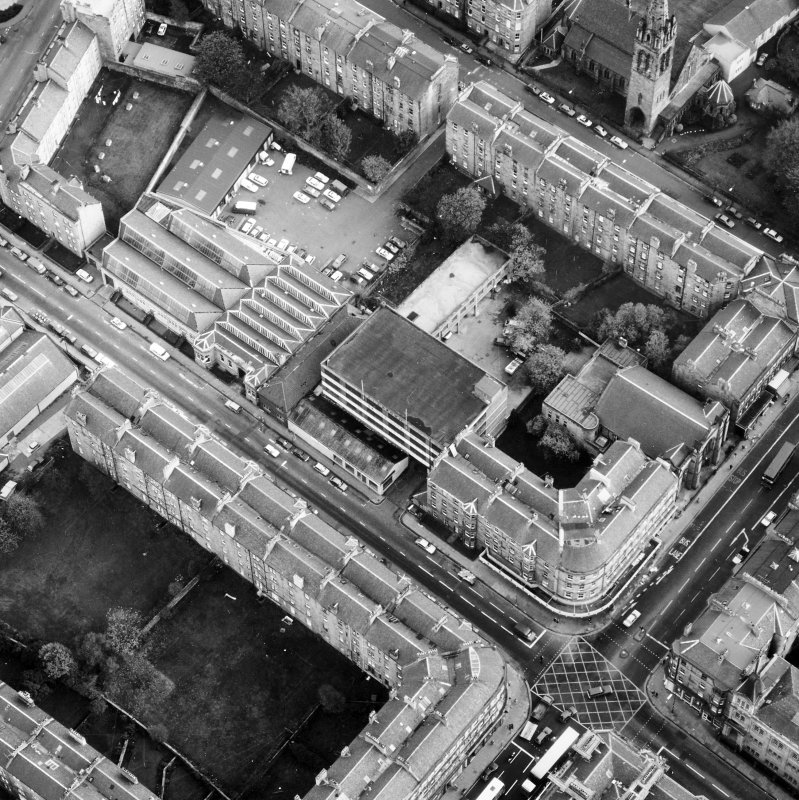 Aerial view showing the building prior to renovation to house RCAHMS seen from the North West.