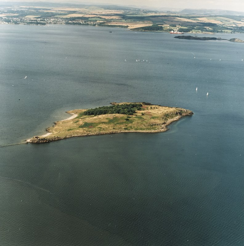 General oblique aerial view looking across Cramond Island towards Inchcolm Abbey and Dalgety Bay, taken from the ESE.