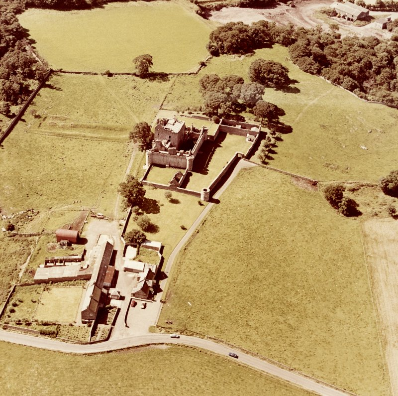 Oblique aerial view from East North East of Craigmillar Castle and Mains
