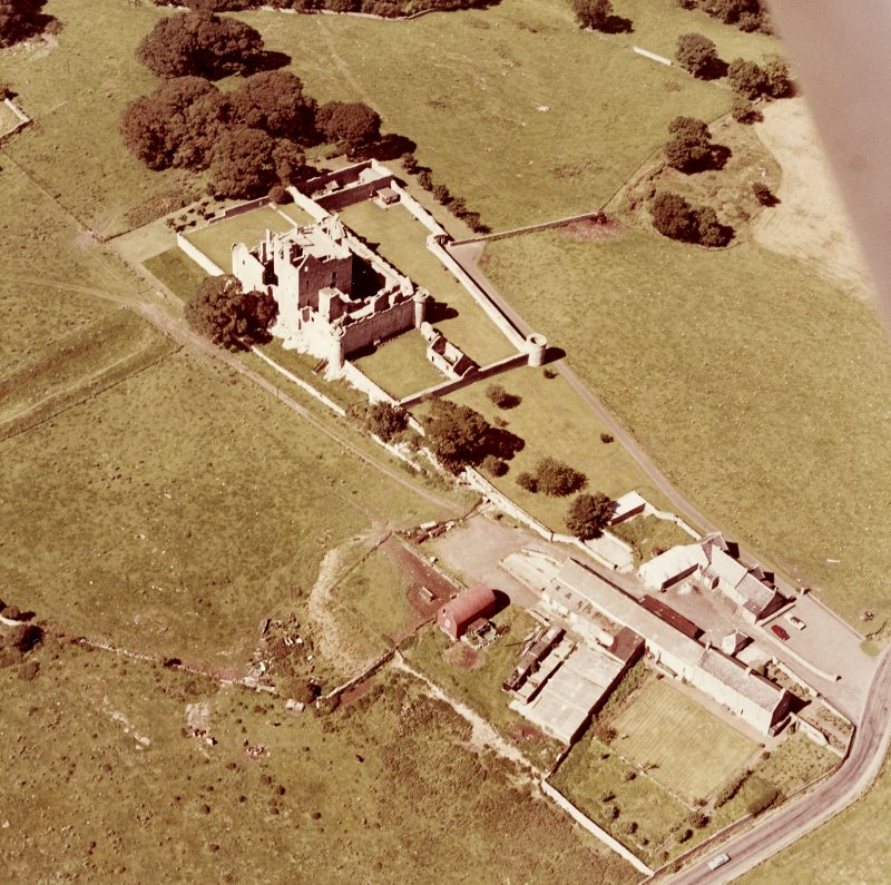 Oblique aerial view from East South East of Craigmillar Castle and Mains