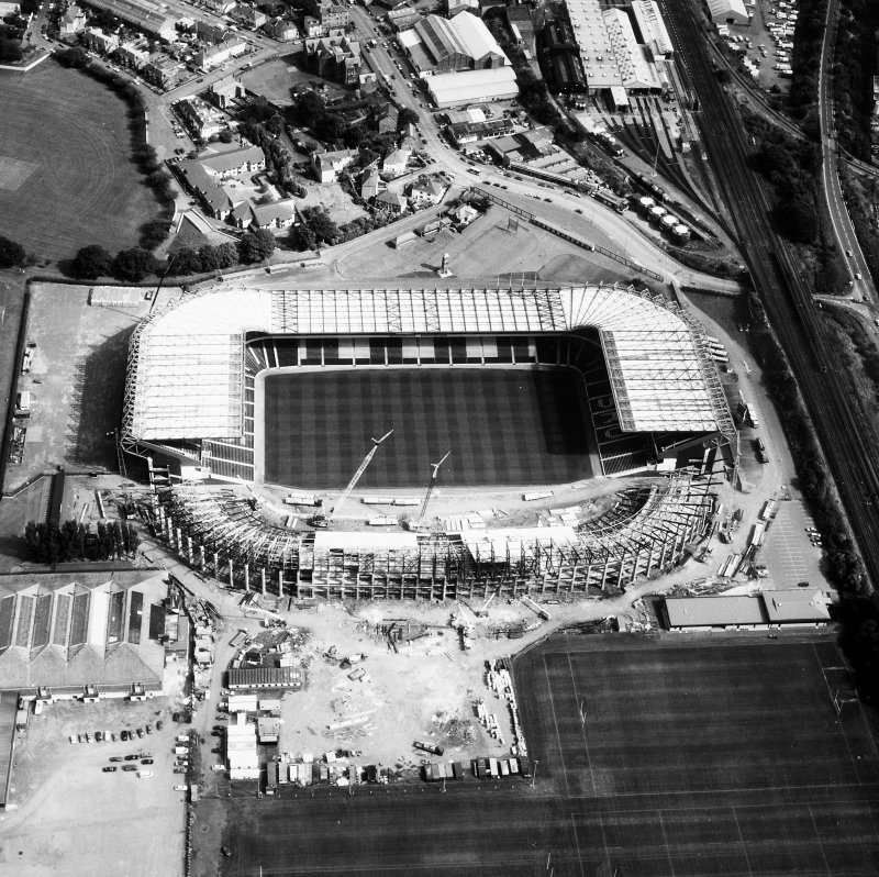 Aerial view of Murrayfield Stadium.