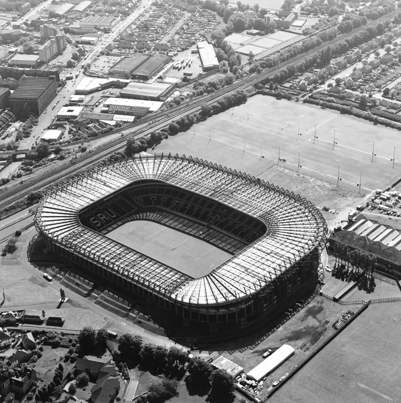 Edinburgh, Murrayfield Stadium, oblique aerial view, taken from the NE, centred on Murrayfield Stadium.