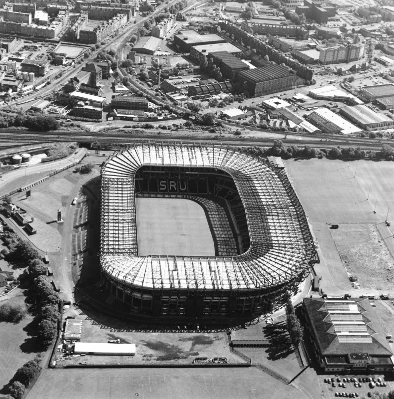 Edinburgh, Murrayfield Stadium, oblique aerial view, taken from the NNW, centred on Murrayfield Stadium. Murrayfield Ice Rink is visible in the bottom right-hand corner of the photograph.