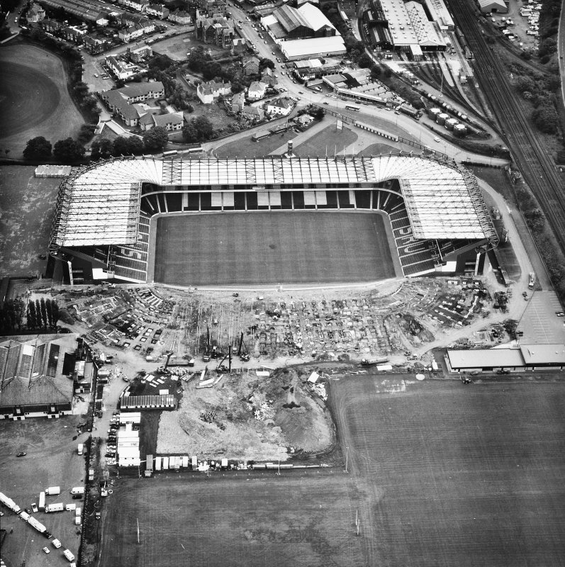 Aerial view of Roseburn House, Murrayfield Stadium and Ice Rink.