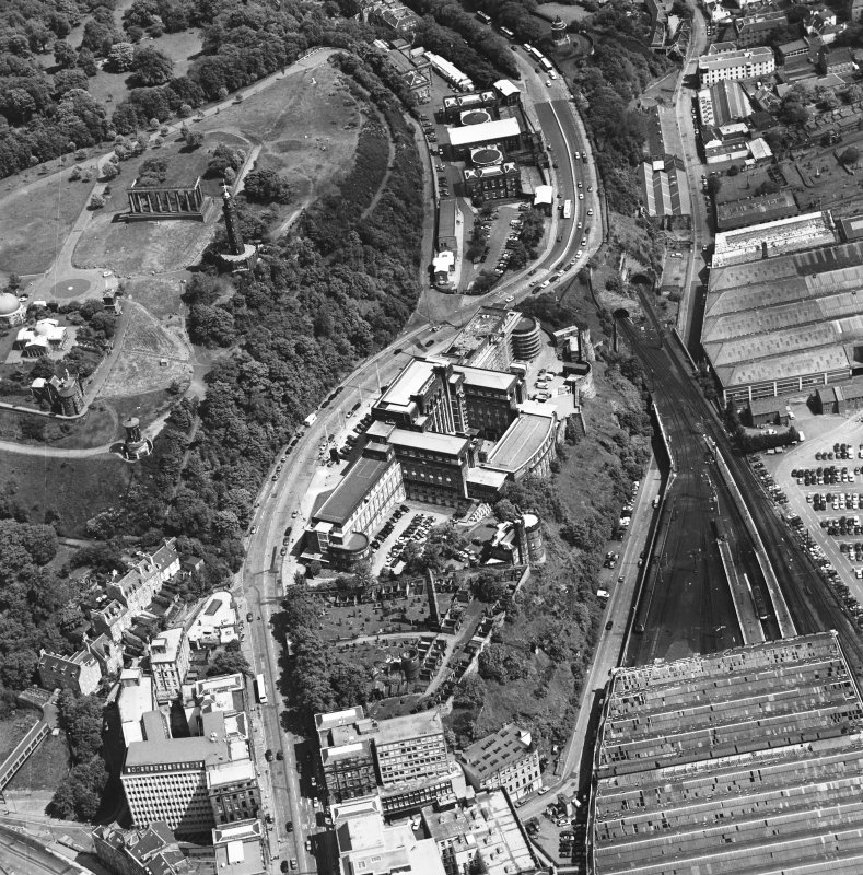 Oblique aerial view centred on St. Andrew's House, taken from the W.