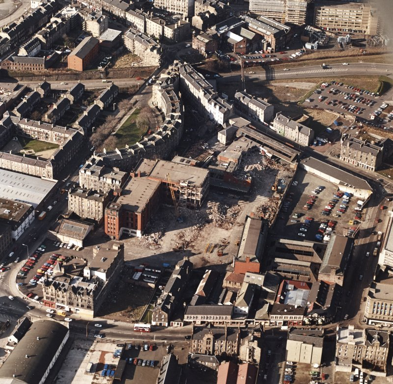 Edinburgh, Morrison Street, St Cuthbert's Dairy and Bakery (SCWS). Oblique aerial view of dairy and bakery from South-East during demolition.