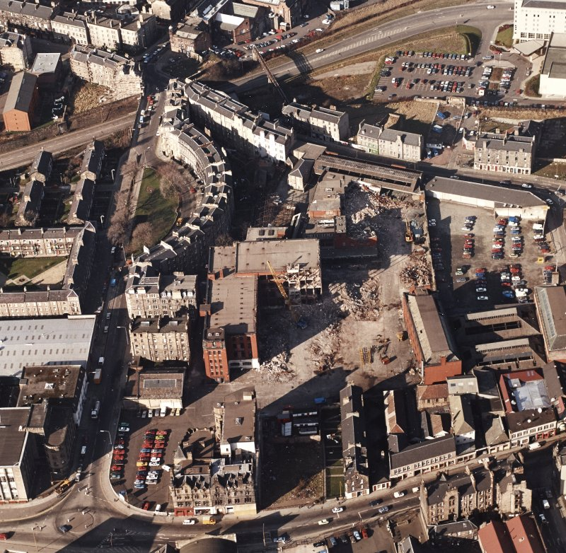 Edinburgh, Morrison Street, St Cuthbert's Dairy and Bakery (SCWS). Oblique aerial view of dairy and bakery from South during demolition.