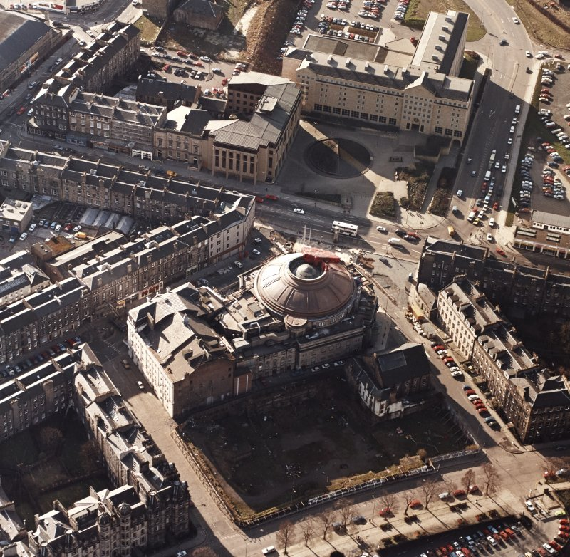 Aerial view of Usher Hall from East North East (during copper roof replacement)