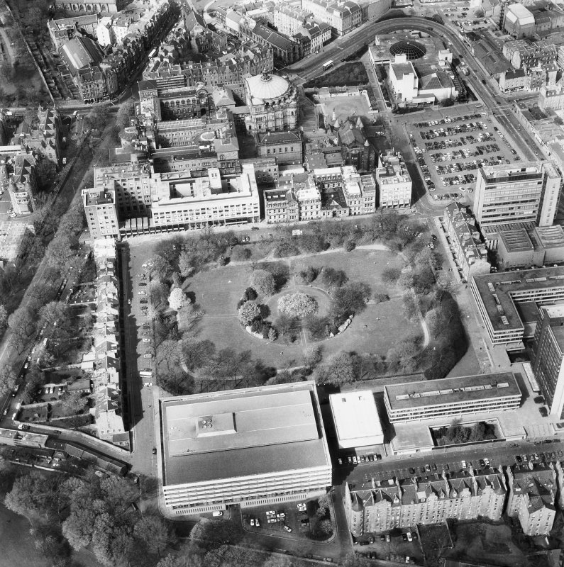 Aerial view of Edinburgh University, George Square seen from the South South West.