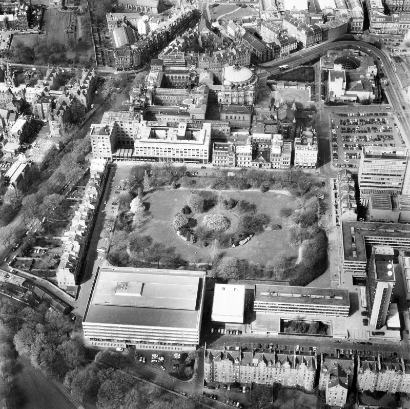Aerial view of Edinburgh University, George Square seen from the South.