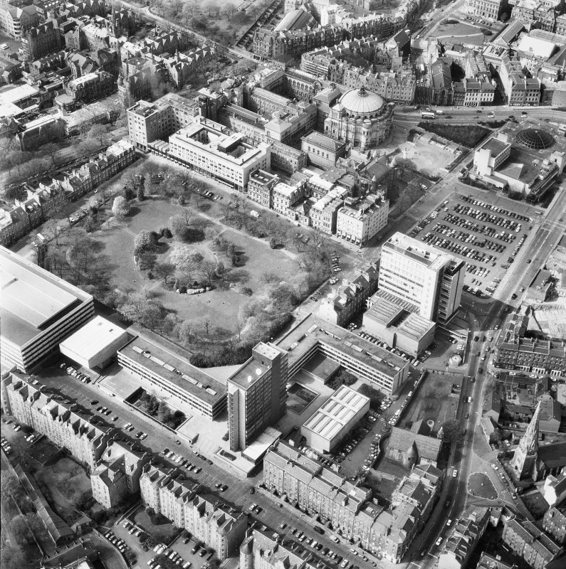Aerial view of Edinburgh University, George Square seen from the South East.