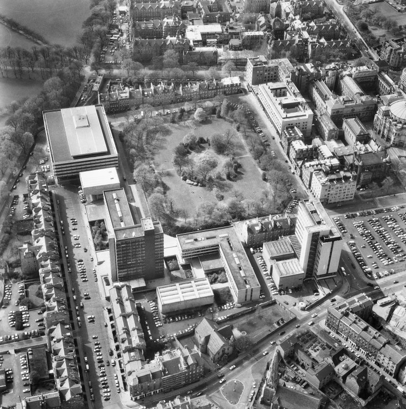 Aerial view of Edinburgh University, George Square seen from the West South West.
