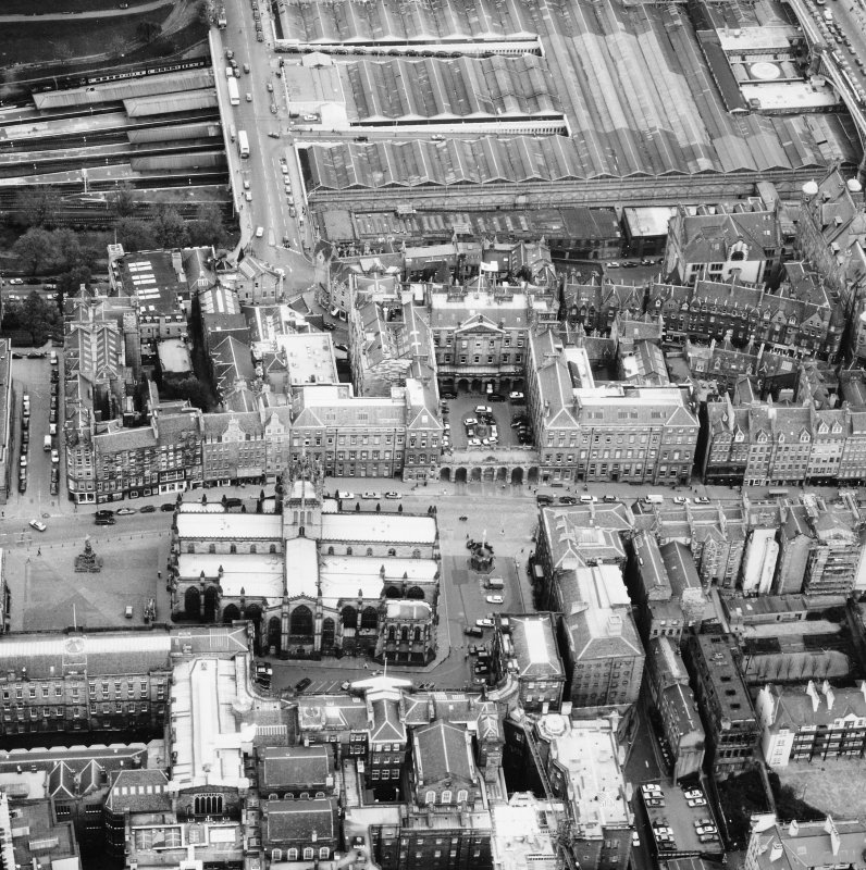 Aerial view showing High Street between North Bridge and Lawnmarket with St Giles' Cathedral at bottom of photo and City Chambers at top