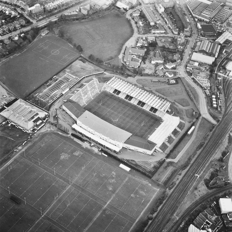 Edinburgh, Murrayfield Stadium. Oblique aerial view from South-West.