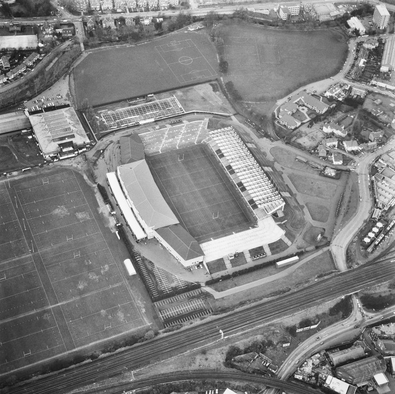 Edinburgh, Murrayfield Stadium. Oblique aerial view from South.