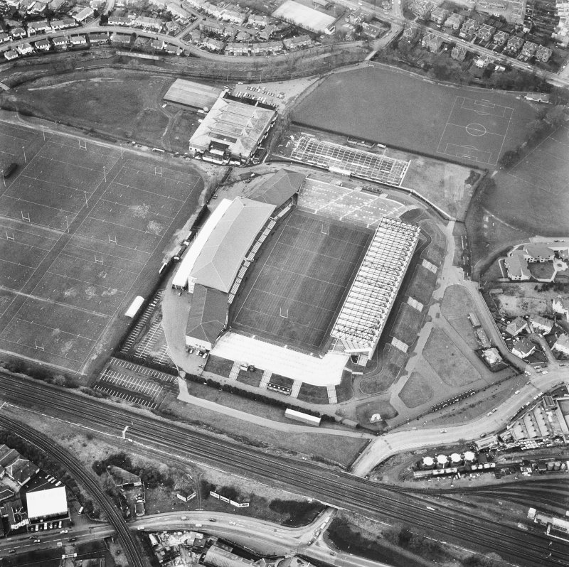 Edinburgh, Murrayfield Stadium. Obilque aerial view from South-East.
