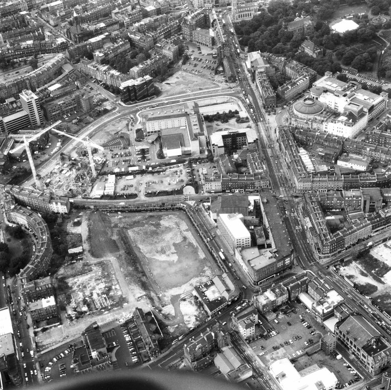 Oblique aerial view from South of Lothian Road, including Usher Hall.