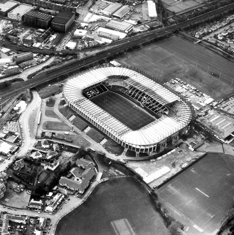 Aerial view showing Murrayfield Stadium and Roseburn House.