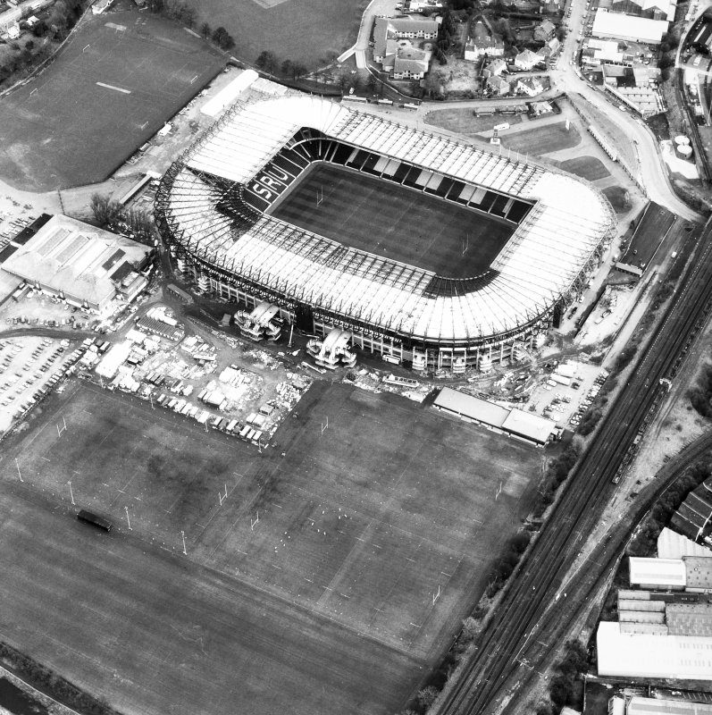 Aerial view of Murrayfield Stadium, also showing Roseburn House and Murrayfield Ice Rink.