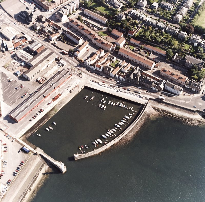Edinburgh, Newhaven Fishmarket. Oblique aerial view from North-West centred on Newhaven Harbour.