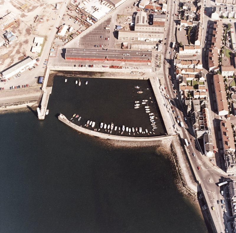 Edinburgh, Newhaven Fishmarket. Oblique aerial view from West centred on Newhaven Harbour.