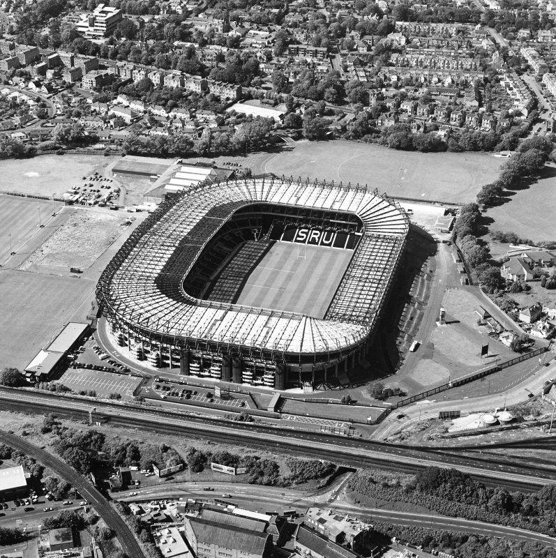 Edinburgh, Murrayfield Stadium, oblique aerial view, taken from the SE, centred on Murrayfield Stadium. Murrayfield Ice Rink is visible in the top left-hand corner of the photograph.