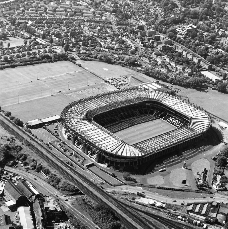 Edinburgh, Murrayfield Stadium, oblique aerial view, taken from the E, centred on Murrayfield Stadium. Murrayfield Ice Rink is visible in the top centre half of the photograph.