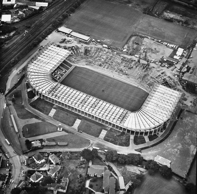 Aerial view of Roseburn House and Murrayfield Stadium during construction.