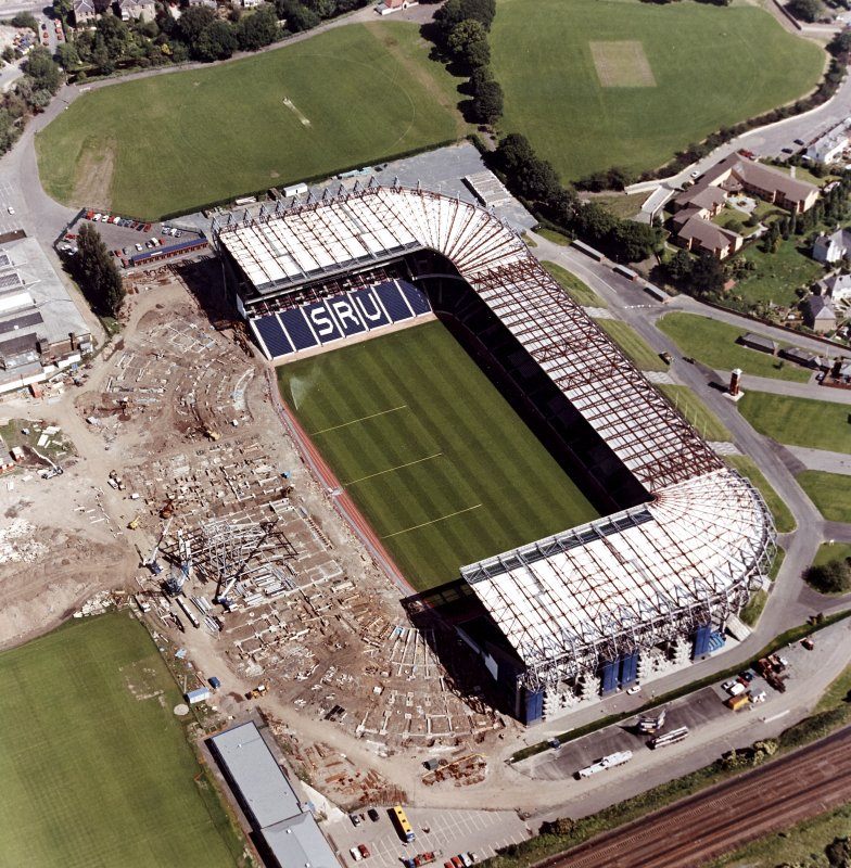 Aerial view of stadium during construction